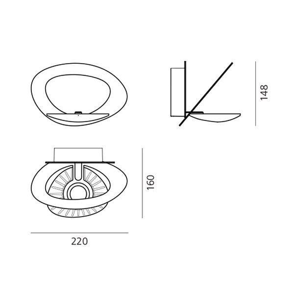 Artemide Pirce Micro Parete wandlamp LED wit 2700K - warm wit