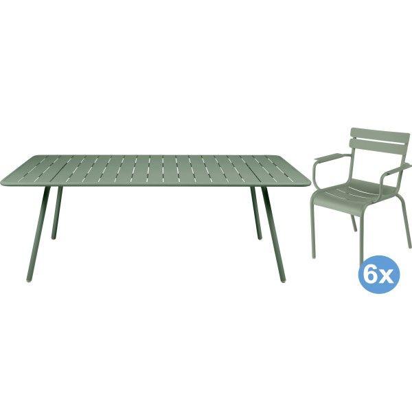 Fermob Luxembourg tuinset 207x100 tafel + 6 stoelen (armchair)