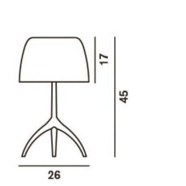 Foscarini Lumiere Grande tafellamp met aan-/uitschakelaar en champagne onderstel