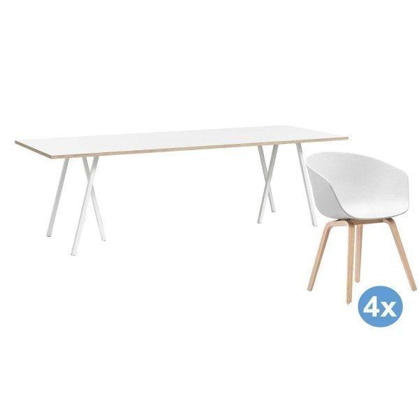 Hay Loop Stand 160 wit eetkamerset + 4 AAC22 stoelen