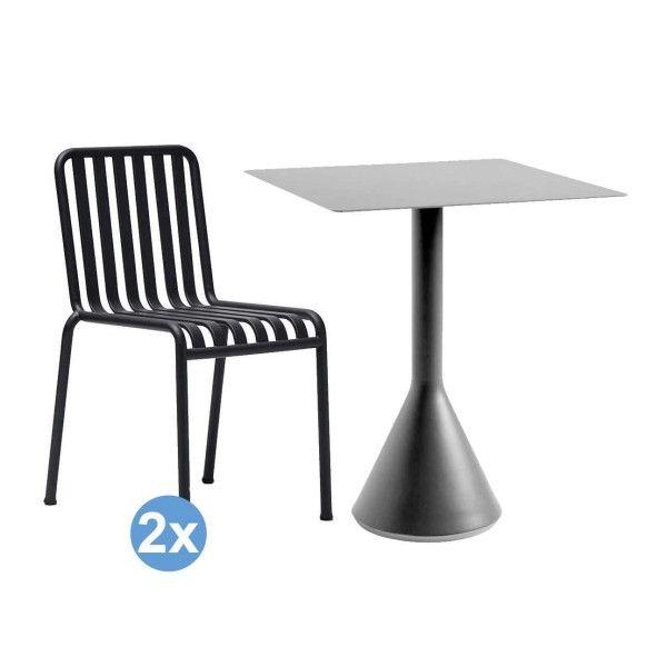 Hay Palissade tuinset Cone tuintafel 65x65 + 2 stoelen