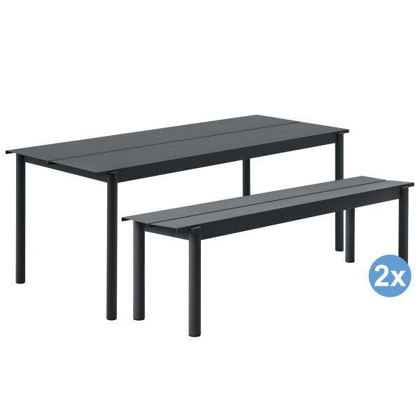 Muuto Linear tuinset tafel 200x75 + 2 banken