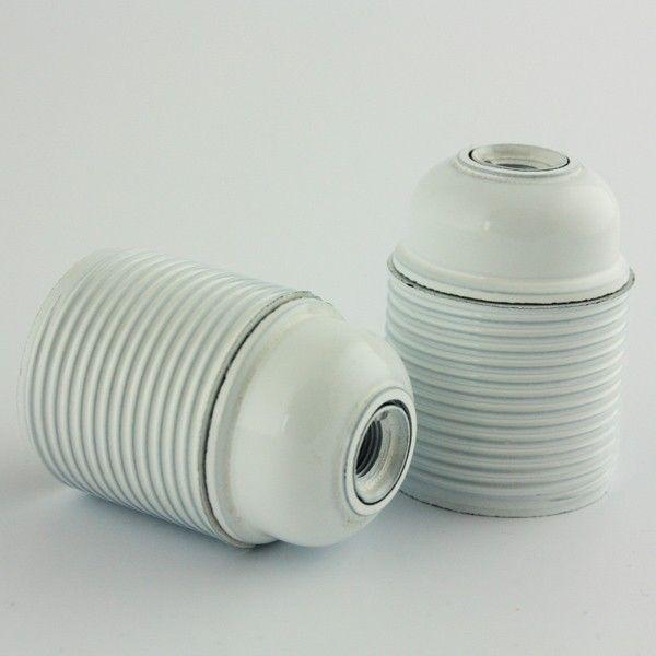 Snoerboer Fitting E27 Wit met buitendraad