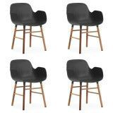 Normann Copenhagen Set aanbieding Form Walnut Armchair stoel (4x)