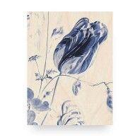 KEK Amsterdam Royal Blue Flowers 1 wandpaneel hout