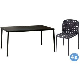 Emu Yard tuinset 160x98 tafel + 4 stoelen (chair)