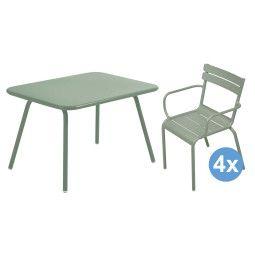 Fermob Luxembourg tuinset 76x56 kindertafel + 4 kinderstoelen (armchair)