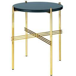 Gubi TS Table Glass bijzettafel brass onderstel 40