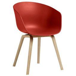 Hay Outlet - AAC22 stoel met gelakt onderstel, kuip warm rood