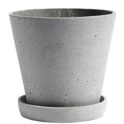 Hay Flowerpot with saucer large, grijs