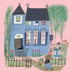 KEK Amsterdam Bear with Blue House roze behang
