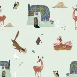 KEK Amsterdam Forest Animals behang groen