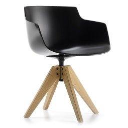 MDF Italia Flow Slim Armchair stoel met VN naturel eiken onderstel