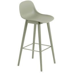 Muuto Fiber Backrest Wood barkruk 75cm