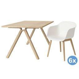 Muuto Split eettafel eetkamerset + 6 Fiber wood stoelen