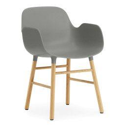 Normann Copenhagen Outlet - Form Armchair stoel met eiken onderstel grijs