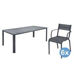 Fermob Oléron tuinset 205x100 tafel + 6 stoelen (armchair)