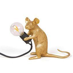 Seletti Mouse Lamp Sitting tafellamp goud met zwart snoer