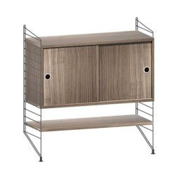 String Dressoir small, zwart/walnoot