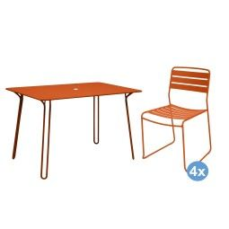 Fermob Surprising tuinset 120x77 tafel + 4 stoelen