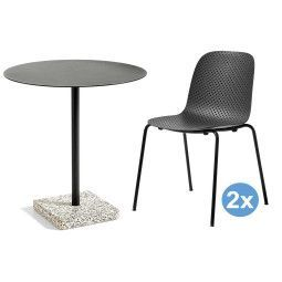 Hay Terrazzo Round tuinset 70 tafel + 2 stoelen