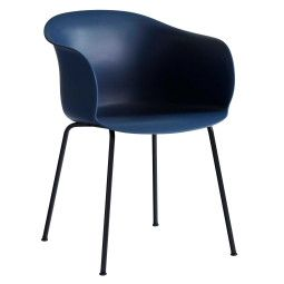 &tradition Elefy JH28 stoel met zwart stalen onderstel