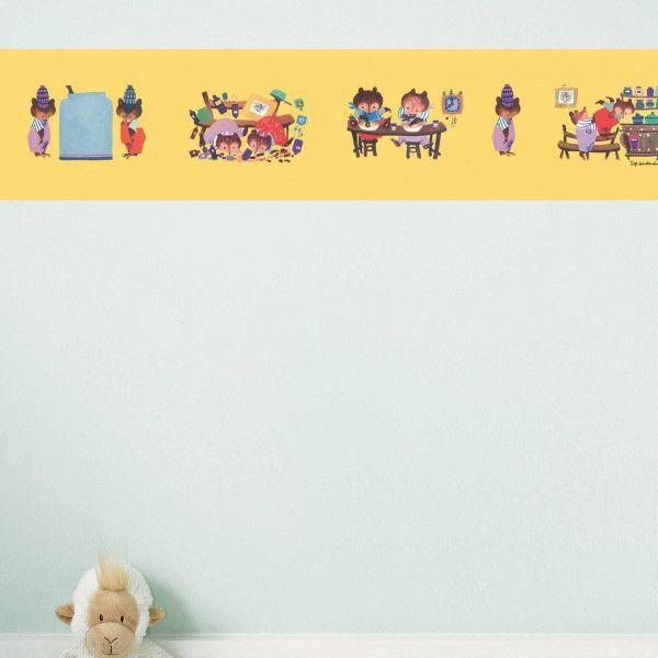 KEK Amsterdam Busy Bears behangrand geel