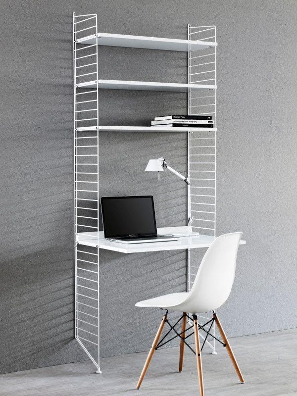String Wandkast met tafel small, wit/eiken