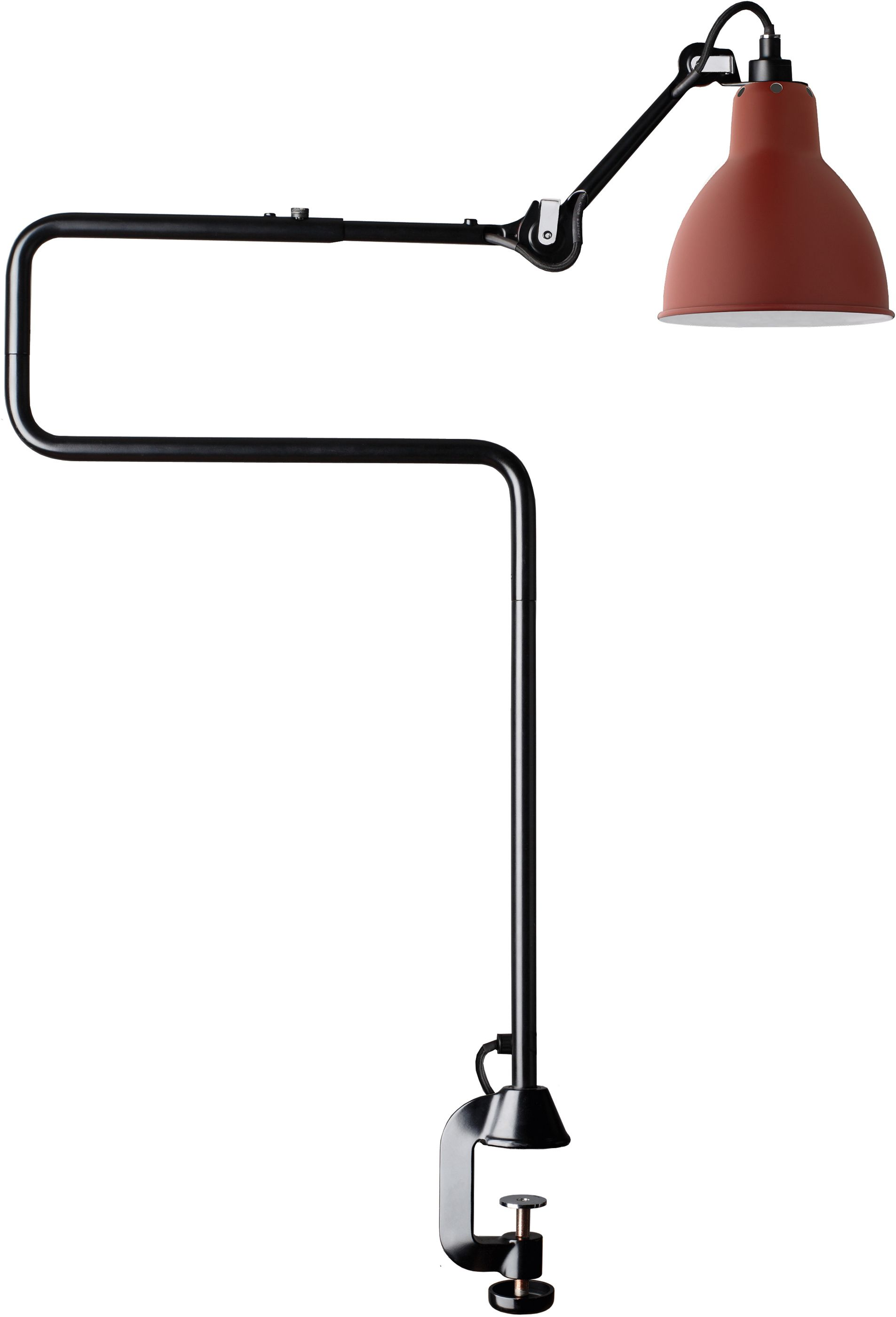 DCW éditions Lampe Gras N211 bureaulamp met tafelklem Rood