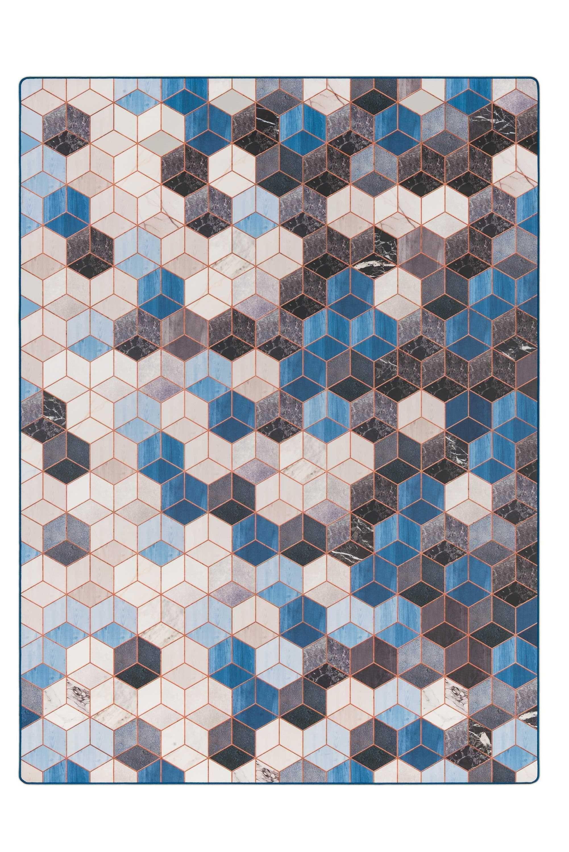 Tarkett Cubes vloerkleed vinyl 166x226 blauw