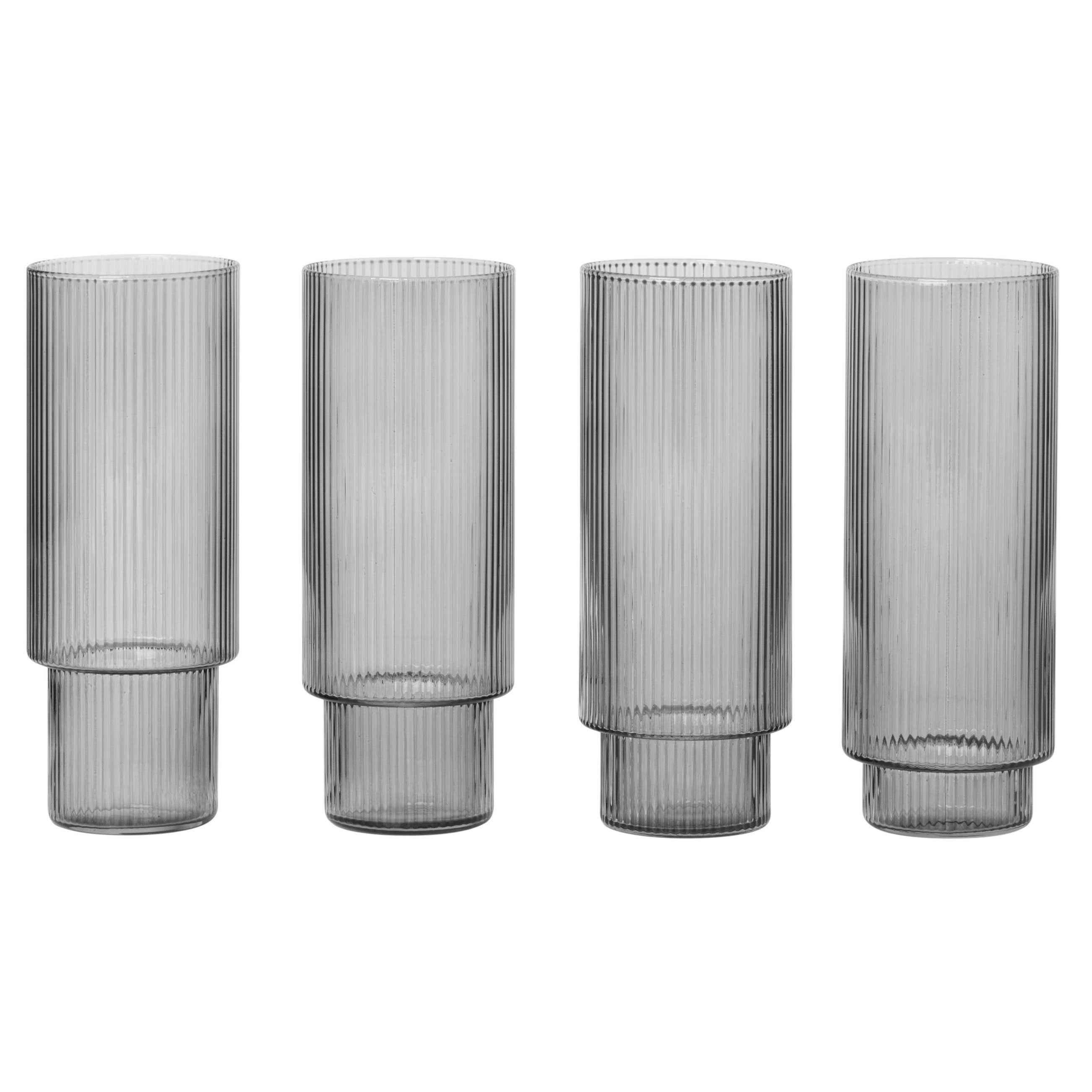 Ferm Living Ripple long drink glazen set van 4 gerookt glas kopen