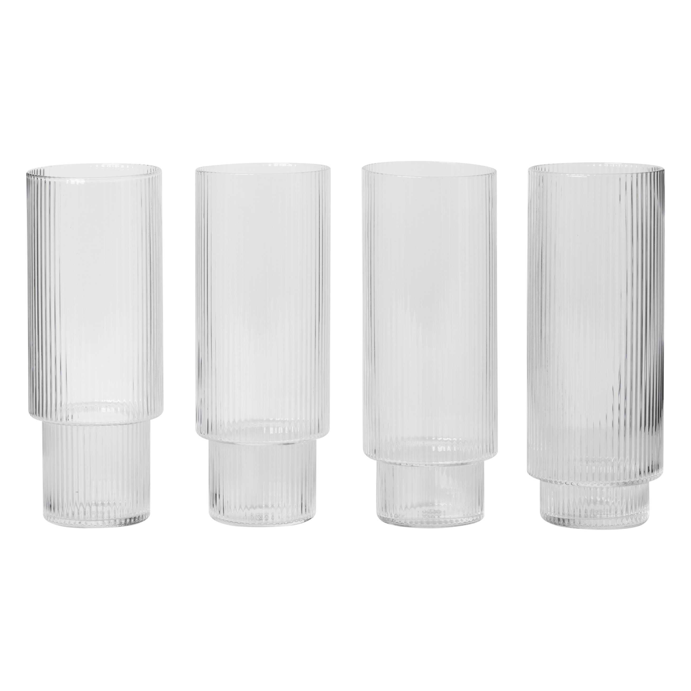 Ferm Living Ripple long drink glazen set van 4 transparant kopen