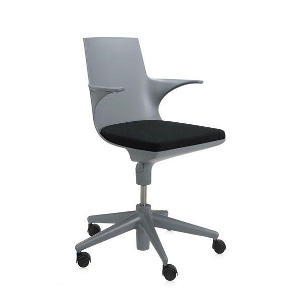 Kartell Spoon bureaustoel grijs-zwart kopen