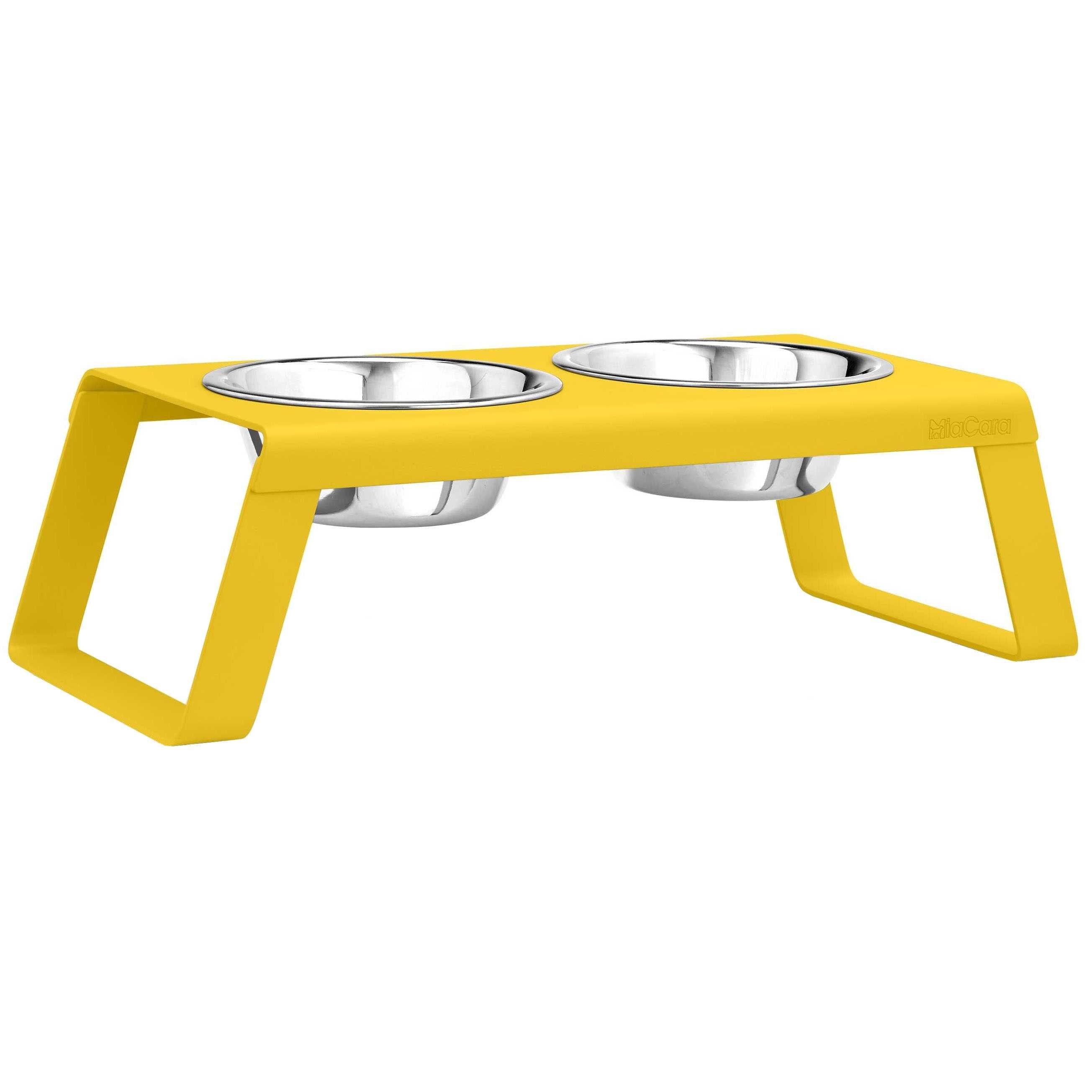 MiaCara Desco hondenvoerbak medium powder-coated yellow kopen