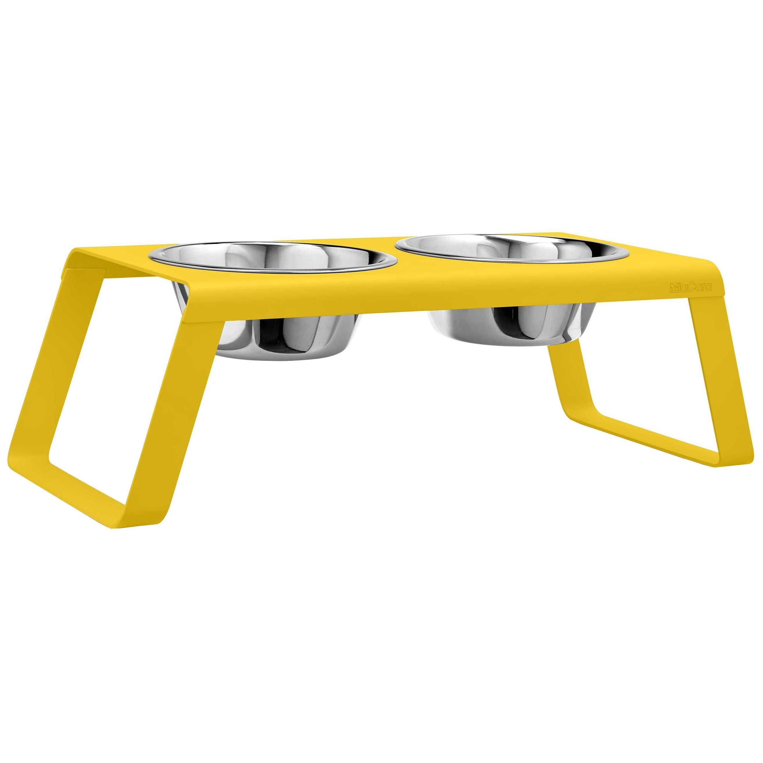MiaCara Desco hondenvoerbak large powder-coated yellow kopen