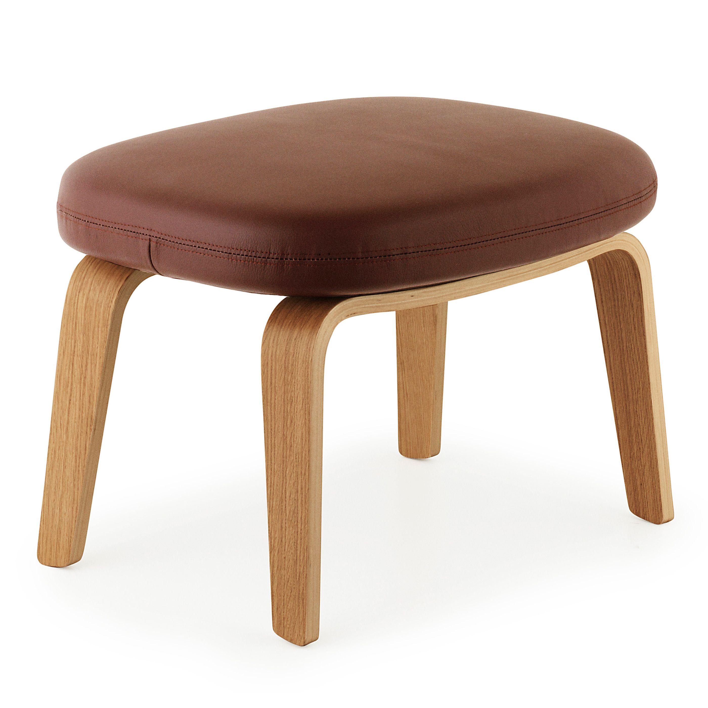 Normann Copenhagen Era Footstool voetenbank met eiken onderstel Leder Tango bruin kopen