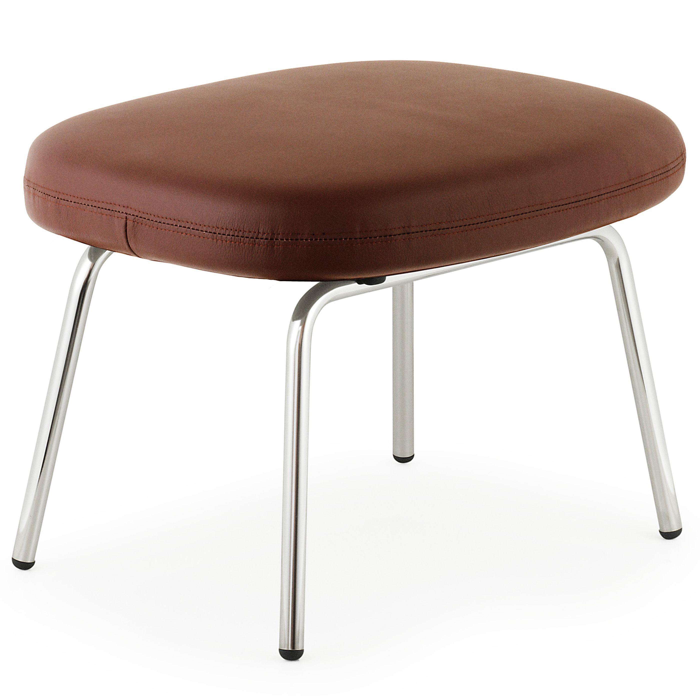 Normann Copenhagen Era Footstool voetenbank met verchroomd onderstel Leder Tango bruin