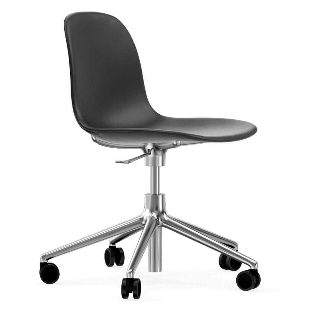 Normann Copenhagen Form Chair bureaustoel met aluminium onderstel Ultra Leather 41599 zwart kopen