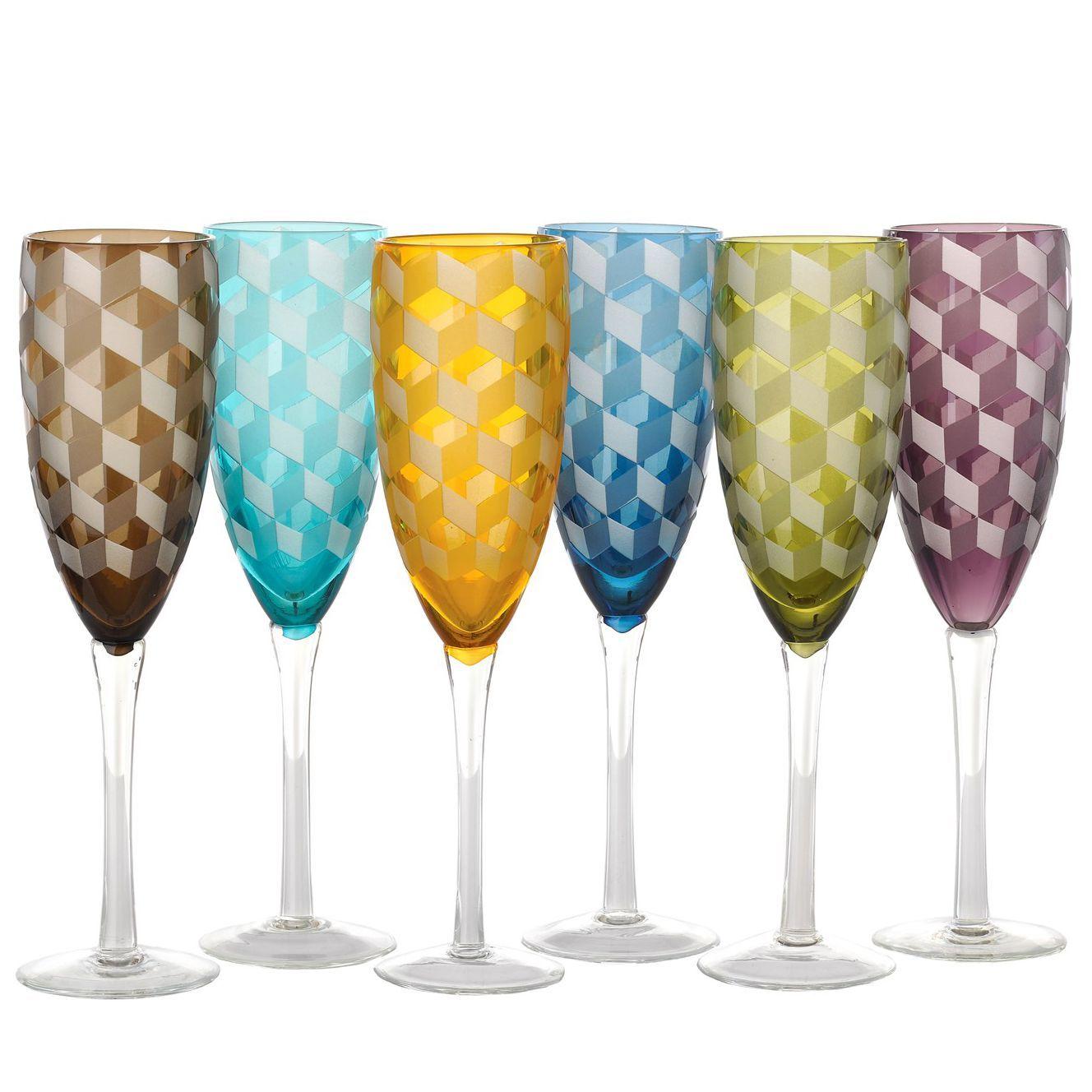 Pols Potten Multicolour Blocks champagneglas 6 stuks kopen