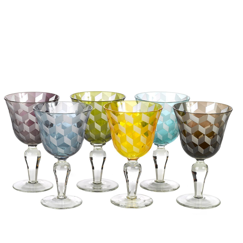 Pols Potten Multicolour Blocks wijnglas 6 stuks kopen