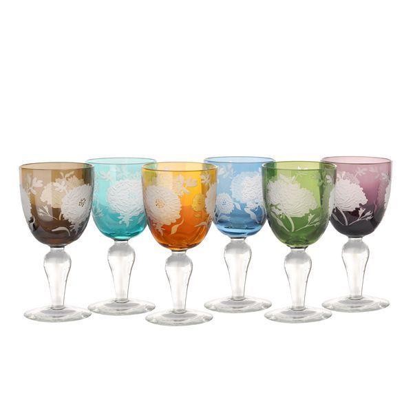 Pols Potten Multicolour Peony wijnglas 6 stuks kopen
