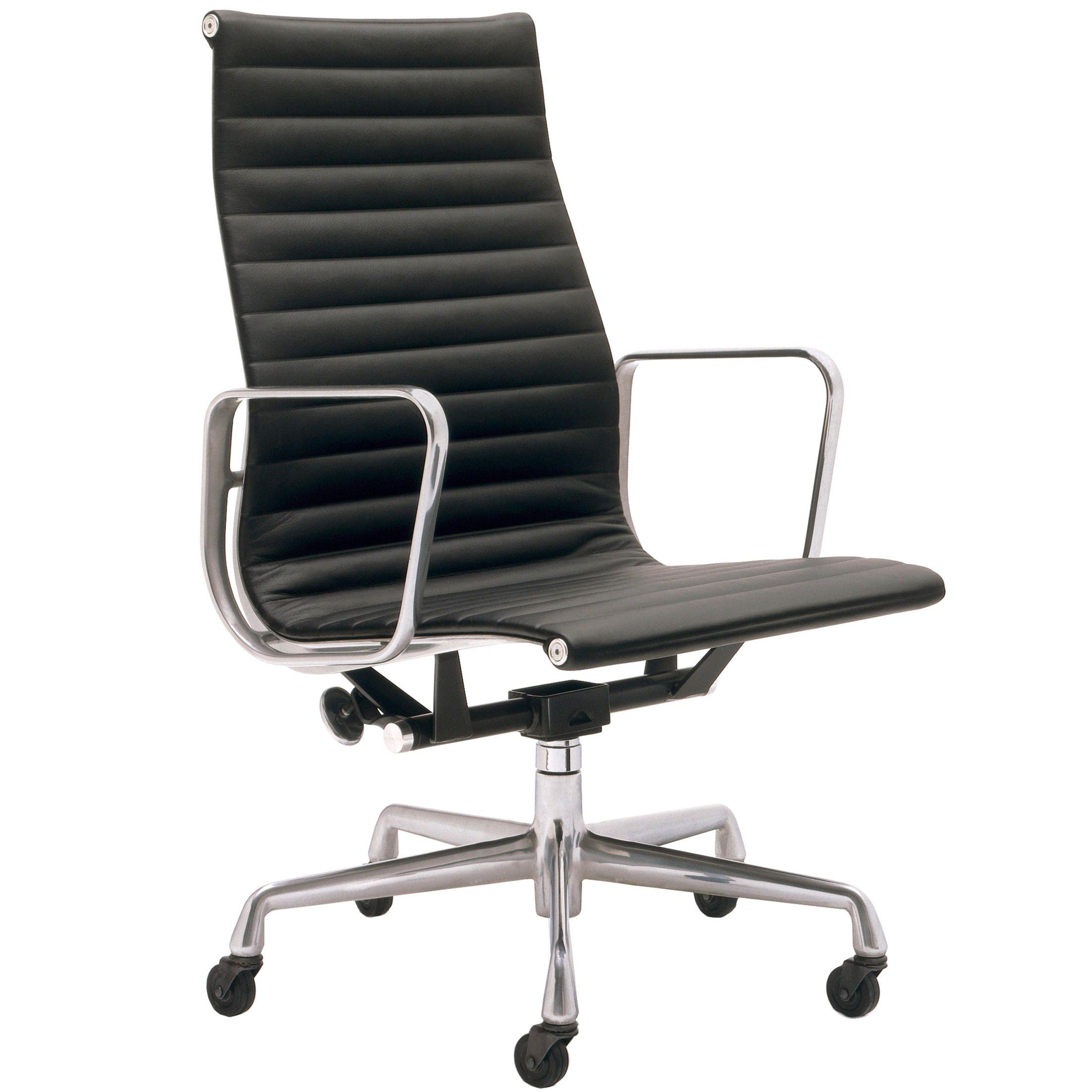 Vitra EA 119 bureaustoel leder zwart onderstel verchroomd kopen