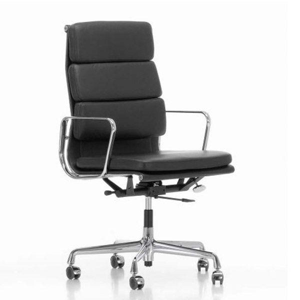 Vitra EA 219 bureaustoel leder nero onderstel verchroomd kopen