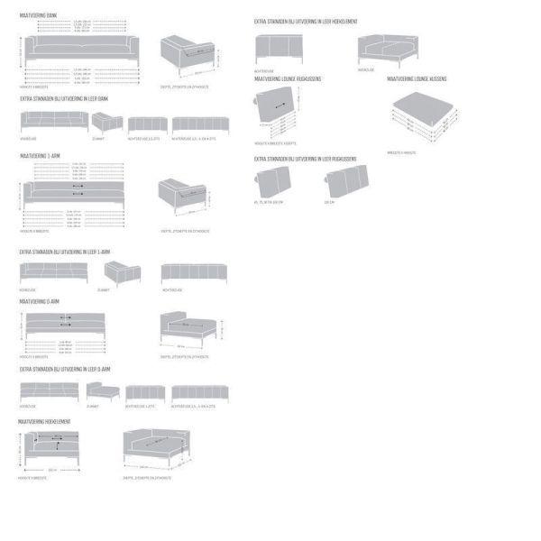 Design on Stock Aikon Lounge bank 3-zits 1-arm + poef