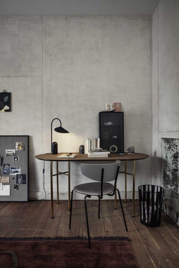 Ferm Living Mingle tafel 220 ovaal black veneer, zwart onderstel