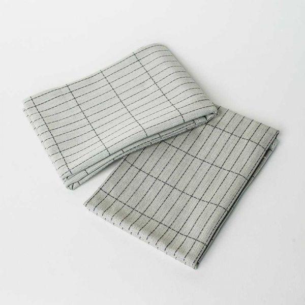 Hay Dash Grid theedoek (set van 2) grijs