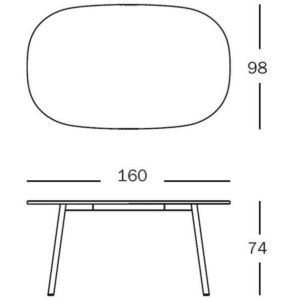 Magis Déjà-vu Table tafel wit rechthoek small 160x98