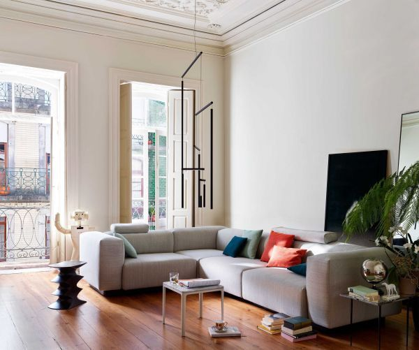 Vitra Soft Modular Sofa bank 2-zits met chaise longue