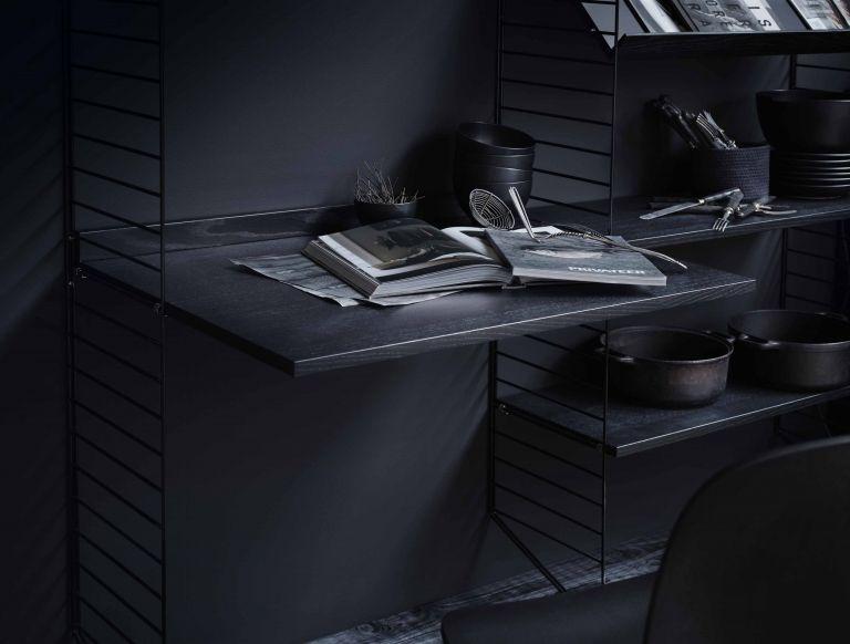String Wandkast met tafel small, zwart