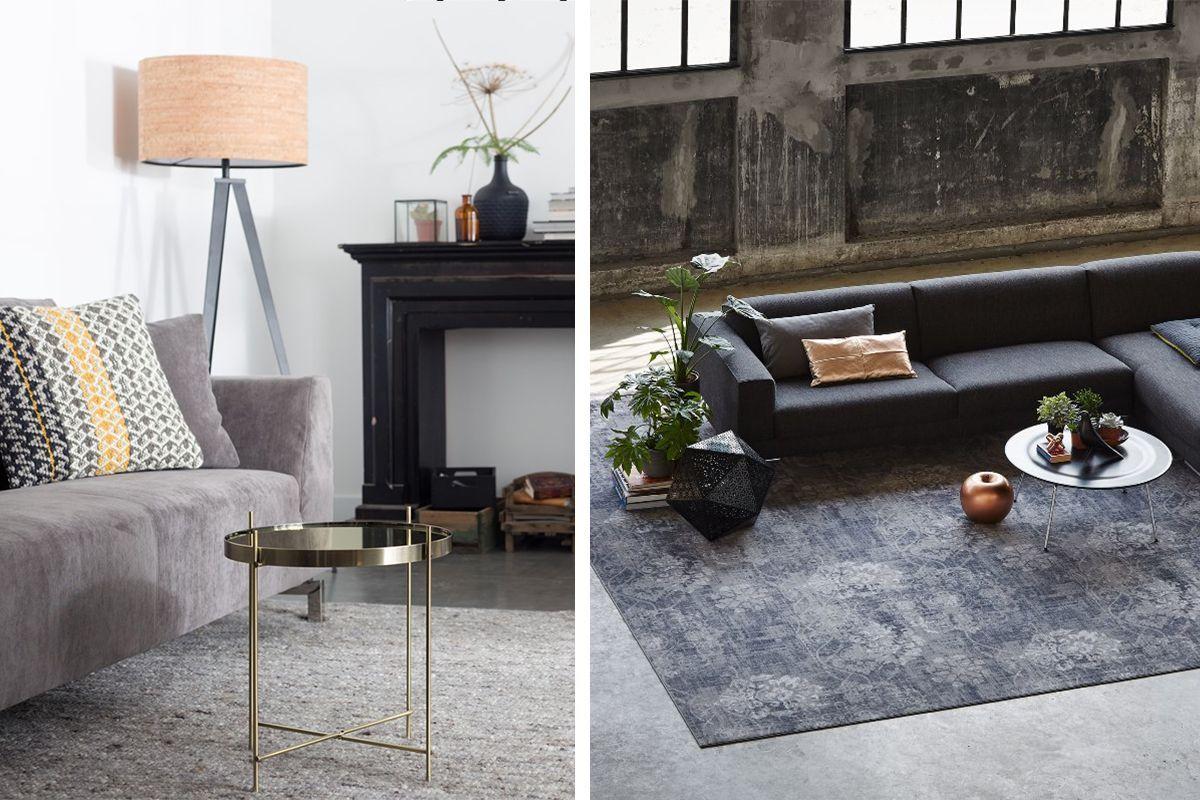 Dankzij het vloerkleed worden de bank en salontafel nu een geheel links met